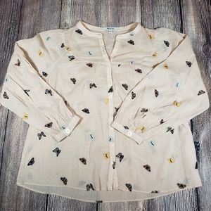 Madewell XS loose fit butterfly embroidered top